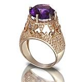 Золотое кольцо Гликерия с аметистом