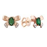 Золотые серьги с изумрудами и бриллиантами Одри