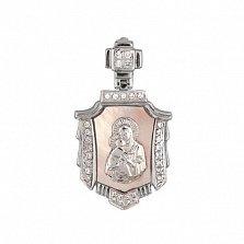 Ладанка из белого золота Владимирская Божья Матерь