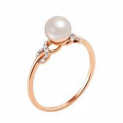 Кольцо из красного золота с жемчугом и фианитами 000132783