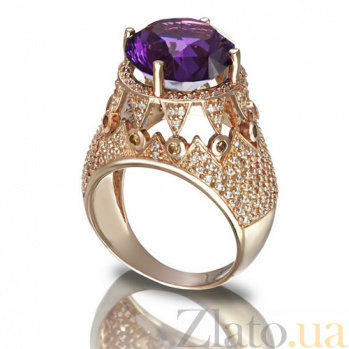 Золотое кольцо Гликерия с аметистом TNG--373656