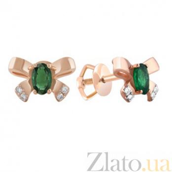 Золотые серьги с изумрудами и бриллиантами Одри KBL--С2468/крас/изум