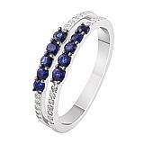 Женское золотое кольцо с сапфирами и бриллиантами Эльза