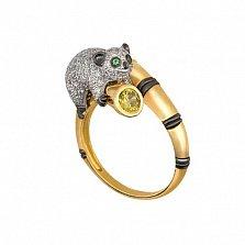 Золотое кольцо Лемур с фианитами