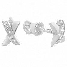Серебряные пуссеты Икс с белыми фианитами