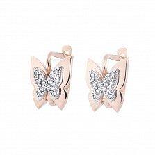Золотые серьги Лукерия с бабочками и белыми фианитами