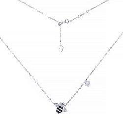 Серебряное колье Пчела с эмалью и фианитами 000095755