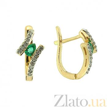 Золотые серьги с бриллиантами и изумрудами Вера 000021853