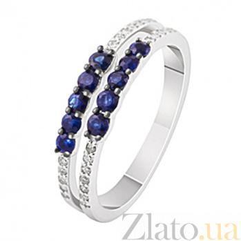 Женское золотое кольцо с сапфирами и бриллиантами Эльза KBL--К1923/бел/сапф/брил