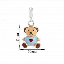 Детская серебряная подвеска Мишка с сердцем и голубой эмалью, 10х11мм
