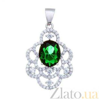 Изящный серебряный кулон с зеленым цирконом AQA--P0515-G