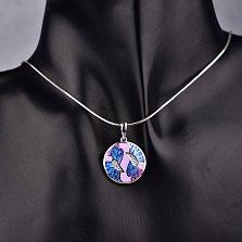 Серебряная подвеска Абстрактные бабочки на цветах с эмалью и фианитами в стиле Фрайвилле