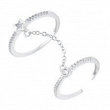 Серебряное двойное наборное кольцо Совершенство со звездой и дорожками из фианитов