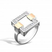 Серебряное кольцо Тиана с золотыми накладками, фианитами и родием