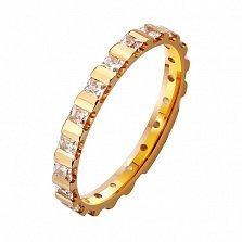 Золотое обручальное кольцо На благо и счастье с фианитами