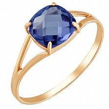 Золотое кольцо Кушон с сапфиром