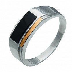 Серебряный перстень-печатка с черным ониксом и золотой накладкой 000116134