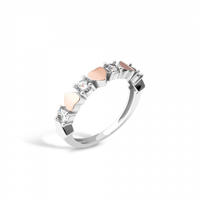 Серебряное кольцо Ева с золотыми накладками и фианитами 000067343