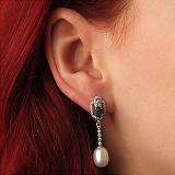 Серебряные серьги-подвески Исанна с жемчугом, зеленым кварцем и фианитами