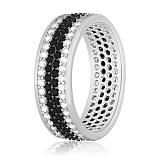 Серебряное кольцо с фианитами Полярная ночь