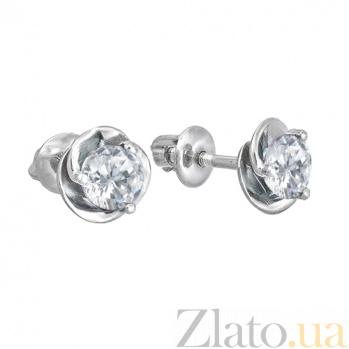 Серебряные серьги с цирконием Подарок 000024278