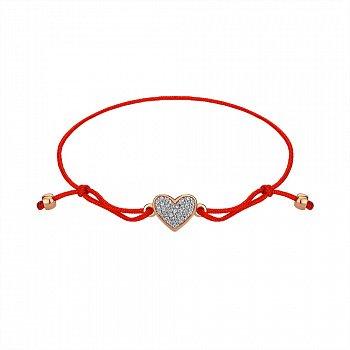 Шелковый браслет c красным золотом и фианитами 000145406
