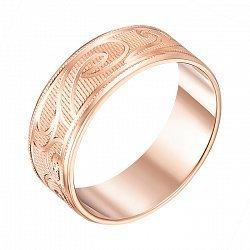 Обручальное кольцо из красного золота с алмазной гранью 000000291