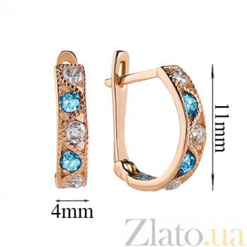 Золотые серьги Вальс с голубыми и белыми фианитами SVA--2101728101/гол-бел/Фианит/Цирконий