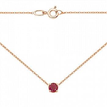 Колье из красного золота с рубином в якорном плетении 000124922