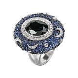 Золотой перстень с сапфирами и бриллиантами Восточная ночь