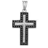 Декоративный крестик с черными и белыми бриллиантами Вера