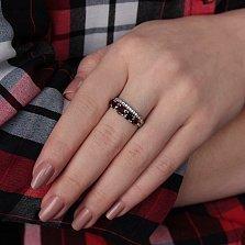 Серебряное кольцо Анита с гранатом и фианитами