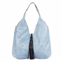 Кожаная сумка на каждый день Genuine Leather 7744 голубого цвета с черной декоративной кисточкой
