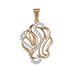 Подвеска Знак зодиака Дева из красного золота с фианитами 000149706
