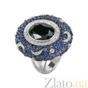 Золотой перстень с сапфирами и бриллиантами Восточная ночь 000027293