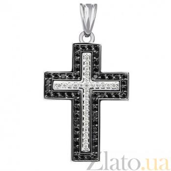 Декоративный крестик с черными и белыми бриллиантами Вера KBL--П088/бел