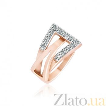 Позолоченное серебряное кольцо с цирконием Токио 000025573