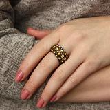 Серебряное кольцо чёрнёное с позолотой