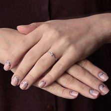Золотое кольцо Эдельвейс в белом цвете с кристаллом Swarovski