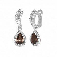 Серебряные серьги Катарина с раухтопазом и фианитами