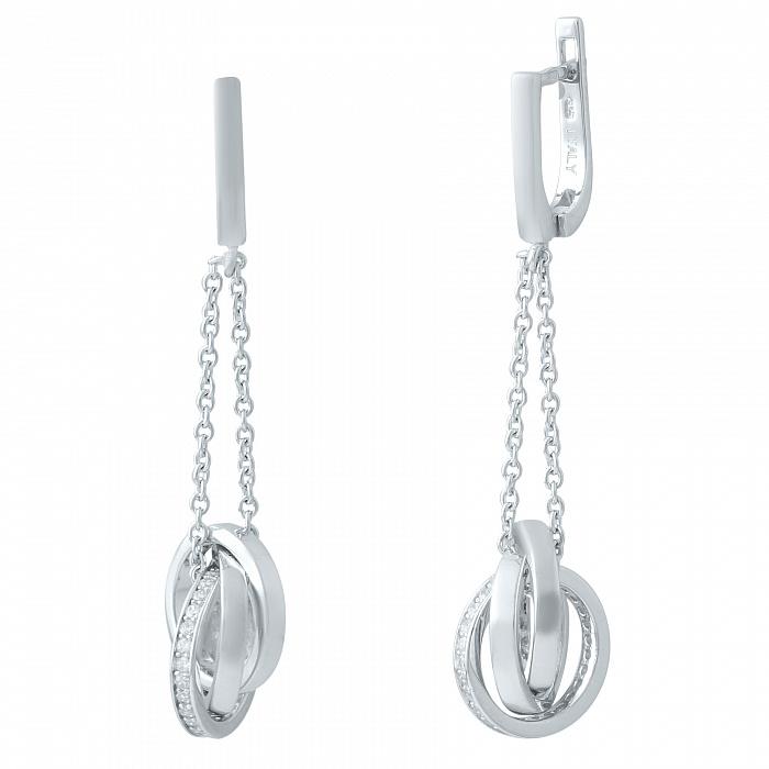 Серебряные серьги-подвески Паулина с фианитами 000078092