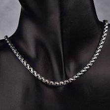Серебряная чернёная цепь Карем в плетении ручеек, 4мм