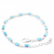 Серебряный браслет Кэролайн с голубыми опалами и фианитами