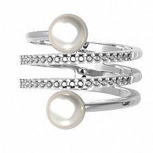 Серебряное кольцо Инферно с белым жемчугом и фианитами