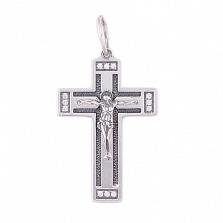 Серебряный крестик чернёный с цирконием Благие вести