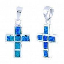 Серебряный крестик Небо с синим опалом