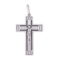 Серебряный крестик чернёный с цирконием Благие вести 000037128