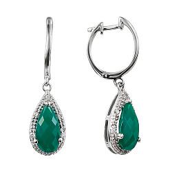 Серебряные серьги-подвески с зеленым агатом и фианитами 000081775