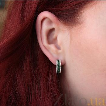 Серебряные серьги Белла с изумрудами и фианитами  TNG--447624С