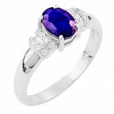 Серебряное кольцо Фелипина с сапфиром и фианитами
